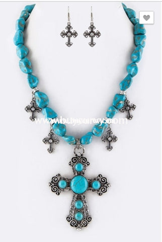 Nc-B Teal Stone Necklace With Cross Pendant And Charms