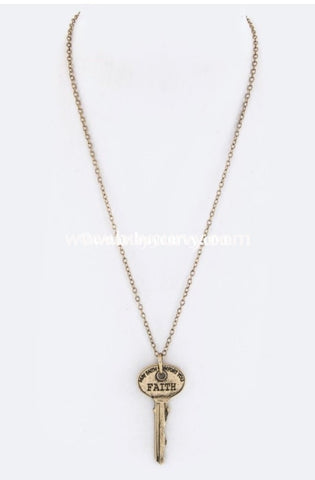 Nc-C 21 Gold Necklace With Faith Key Pendant