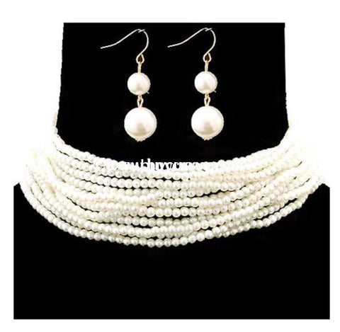 Nc- C Adorn Multi-Strand Pearl Necklace With Earrings