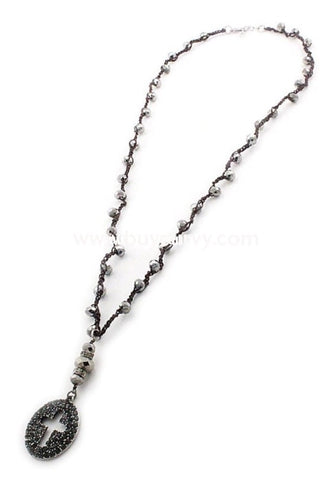 Nc- C Brown Metallic Rhinestone Graphite Cross Necklace