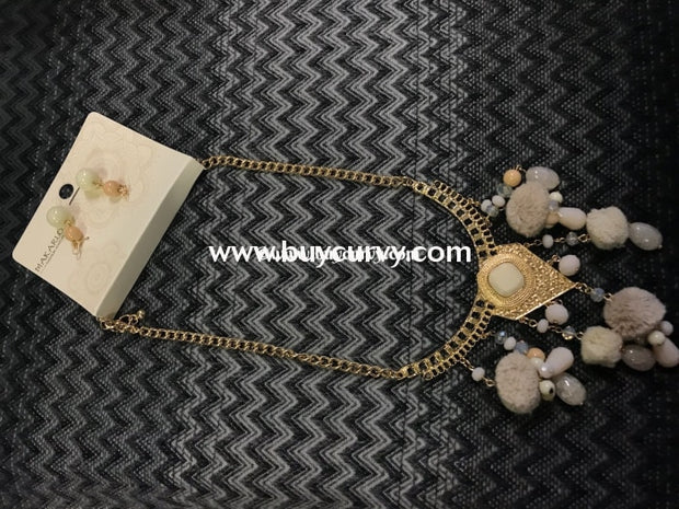 Nc- C Gold/ivory Egyptian Pom Necklace