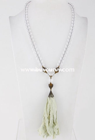 Nc-C Gypsy Style Clear Bead Necklace With Green Tassel