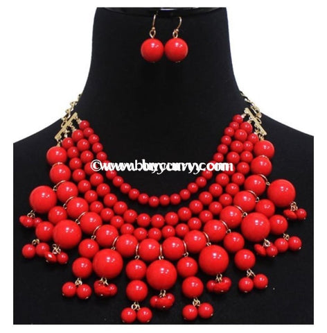 Nc-C Jennifer Red Drop Bead Necklace & Earring Set
