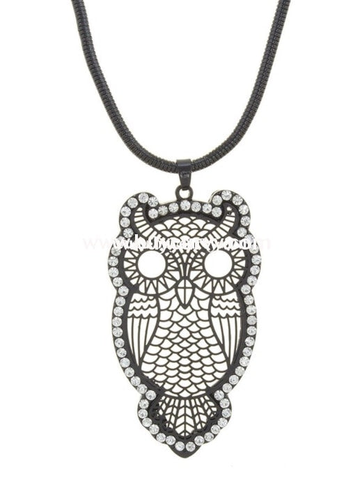 Nc-C Long Black Necklace With Diamond Studded Owl