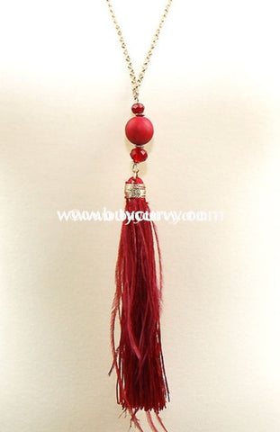 Nc- C Long Necklace & Earring Set Gold Chain/red Tassel