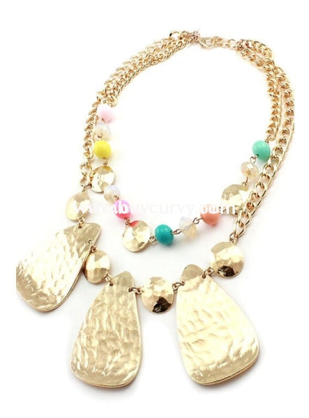 Nc-C Rainbow Colored Gold Hammered Necklace
