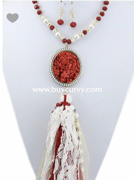 Nc-C Red & Ivory Beaded Long Tassel Necklace W/ Pendant