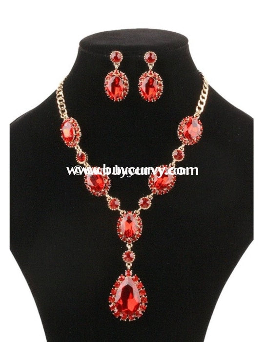 Nc-C Red Jewel Necklace With Matching Earrings