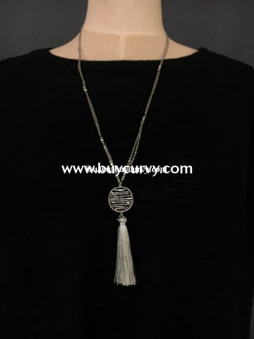 Nc- C Silver Necklace Circle Pendant And Tassel Detail