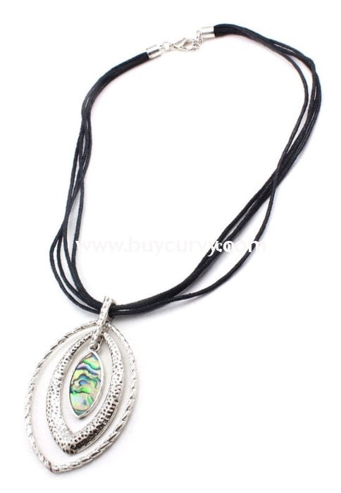 Nc-C Silver Pendant With Black Strands Necklace