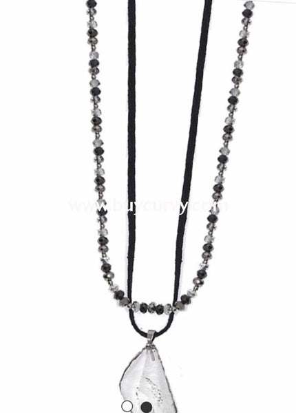 Nc-D Black & Ivory Beaded Necklace With Clear Crystal