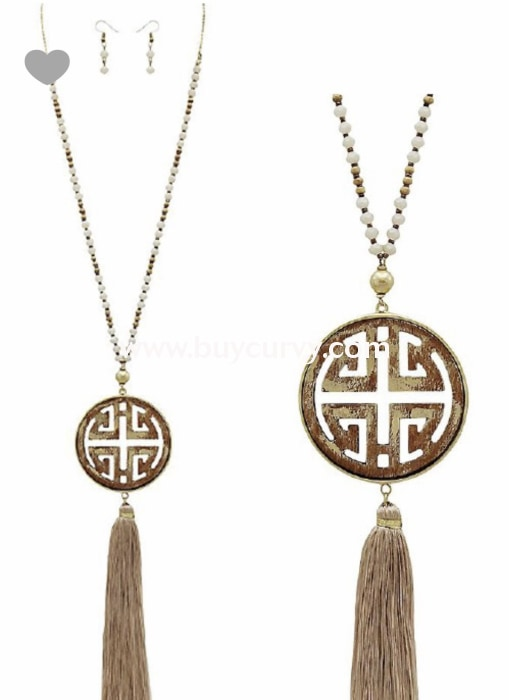 Nc-D Ivory & Brown Medallion Beaded Tassel Necklace W/ Earrings