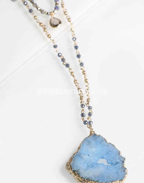 Nc-D Triple Layered Necklace With Blue Stone & Beads