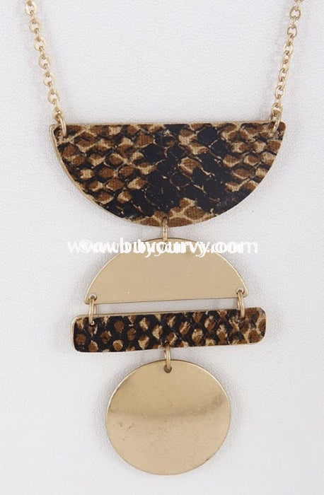 Nc- Gold With Brown Snakeskin Necklace