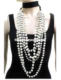Nc-K-Wrap-Around Choker Necklace With Long Pearls & Earrings
