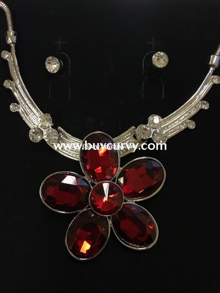 Nc-Red Ruby Flower Necklace With Rhinestone