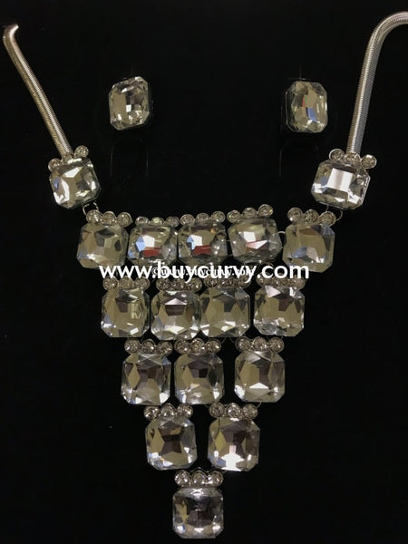 Nc-Silver Octagon Glass Rhinestone Set Necklace