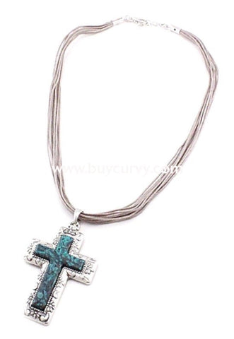 Nc- Silver/teal Cross With Multi Strand Necklace