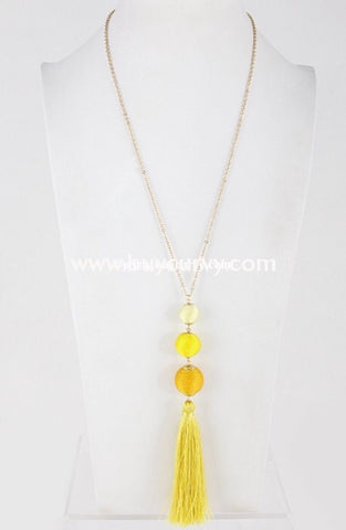Nc- Trendy Chinese Style Necklace With Yellow Tassel