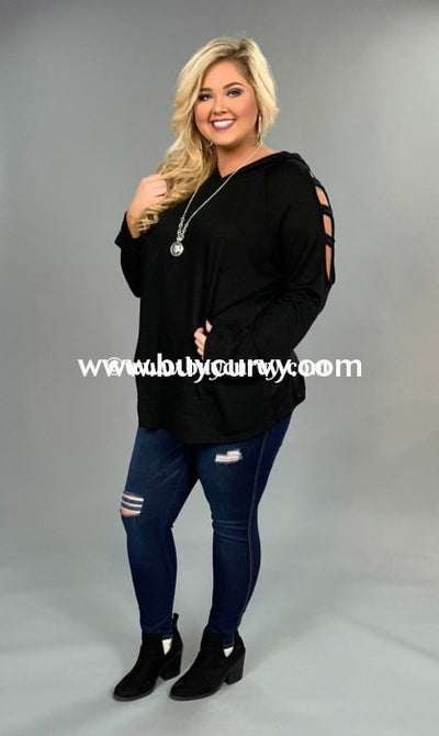 Ocs-A {Kiss & Tell} Black Hoodie With Cut-Out Sleeve Detail Open Shoulder