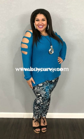 4f93df05b8348 Ocs-A Zenobia Blue Knit With Sleeve Cutouts Sale!! Open Shoulder