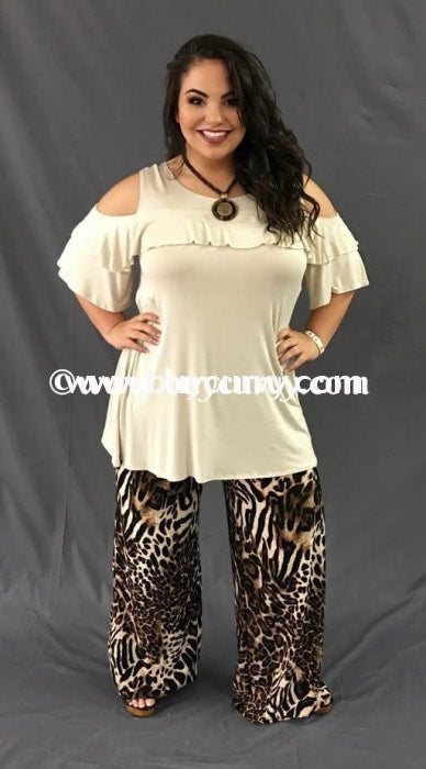 Ocs-B Beige Ruffle Yoke Cold Shoulder Sale!! Open