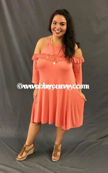 Ocs-B Coral Cold-Shoulder With Ruffle & Pockets {Sale!!} Open Shoulder
