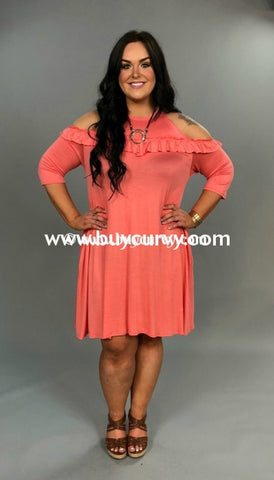 cd65d5171f207 Ocs-B Coral Cold-Shoulder With Ruffle   Pockets  Sale!!