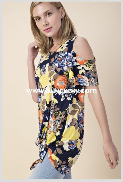 Ocs-C Team Leader Navy/yellow Floral With Knot {Sale!!} Open Shoulder
