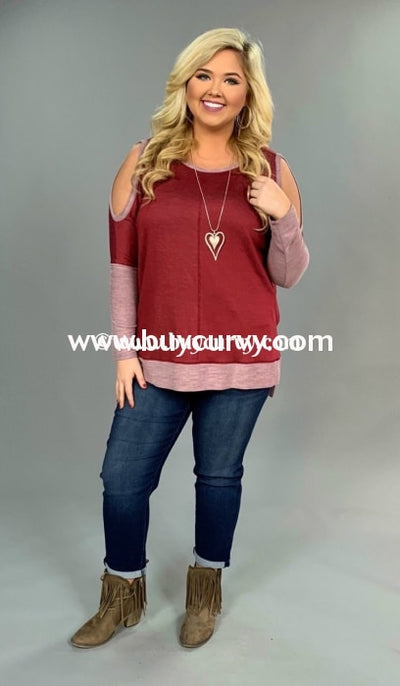 Ocs-C Wine Open Shoulder Top With Split Sides