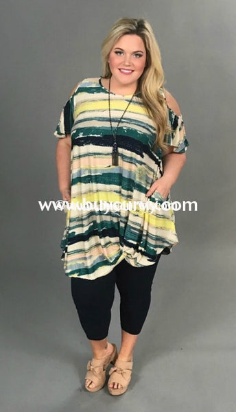 Ocs-D {Sale!!} Impossible Green Striped Gathered Hem Open Shoulder