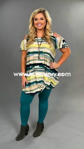 9265f8145beef Ocs-D  Sale!!  Impossible Green Striped Gathered Hem Open Shoulder