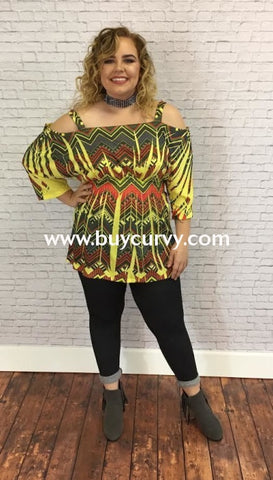 47ae02b0d494b Ocs-F Yellow chevron Print Cold Shoulder Sale!! Open