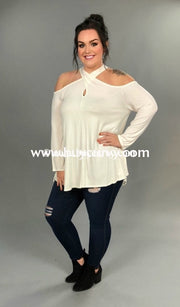 Ocs-G Ivory Cold-Shoulder With Overlap Keyhole Sale!! Open Shoulder