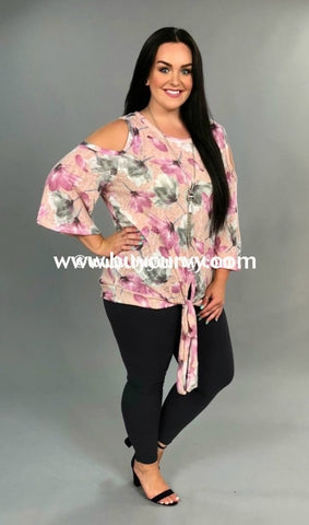 54200c3b34e12 Ocs-G  Love Request  Pink Cold-Shoulder With Front Tie Sale!