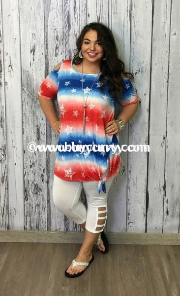 Ocs-G {Sale!!} Patriotic Cold-Shoulder With Star Print & Tie Open Shoulder