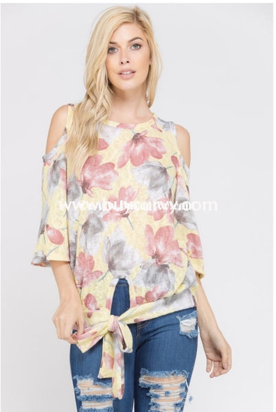 Ocs-I {Love Request} Yellow Cold-Shoulder With Front Tie {Sale!!} Open Shoulder