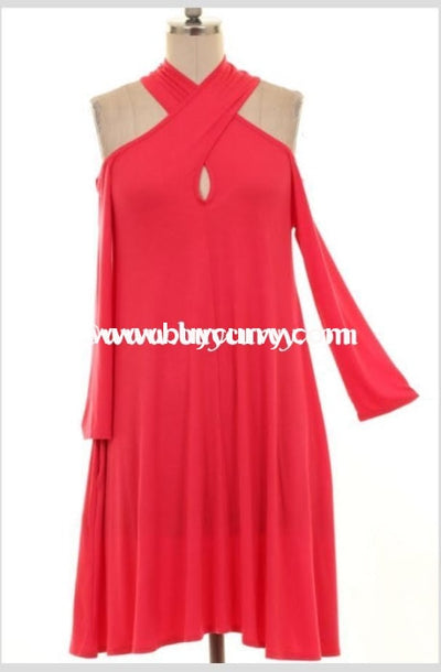 Ocs-J Cold-Shoulder Coral Keyhole With Side Pockets Sale!! Open Shoulder