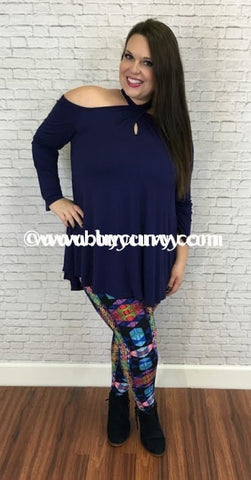 Ocs-J Navy Cold-Shoulder With Overlap Key-Hole Design Sale!! Open Shoulder
