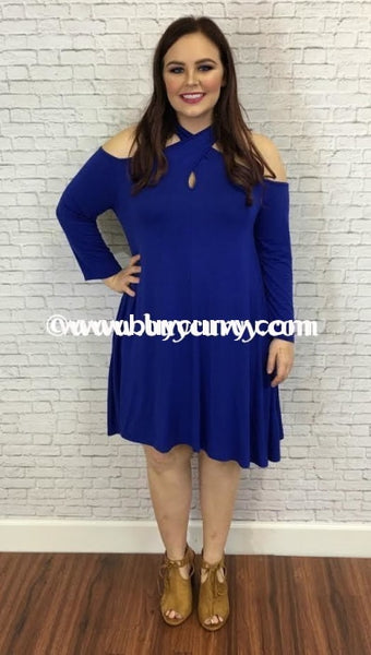 Ocs-K Cold-Shoulder Blue Keyhole With Side Pockets Sale! Open Shoulder