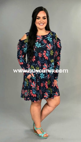 Ocs-K Indigo Floral Print Open Shoulder Dress W Pockets