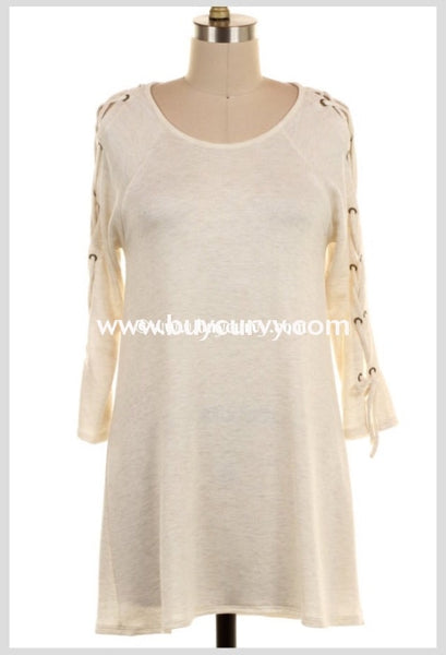 Ocs-K Now & Forever Cream Top With Lace-Up Detail Sleeves Open Shoulder
