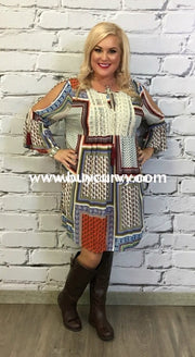Ocs-L Kori Multi-Print Patchwork With Lace Sale! Open Shoulder