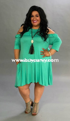 Ocs-L Mint Cold-Shoulder With Ruffle & Pockets {Sale!!} Open Shoulder
