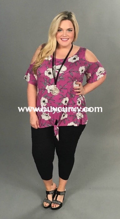 Ocs-M {Sale!!} Flying Solo Magenta Floral W/ Knot Detail Open Shoulder