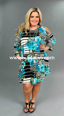 Ocs-O Pretty Awesome Mint Floral/striped Extended Plus Open Shoulder
