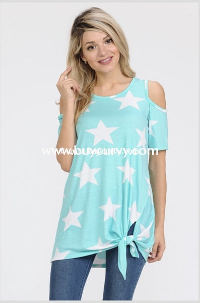 Ocs-O {Sale!!} A Star Is Born Mint Knotted Hem Open Shoulder