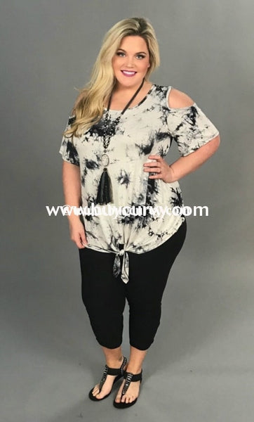 Ocs-O {Something To Brag About} Black & Ivory Tie Dye Extended Plus Open Shoulder