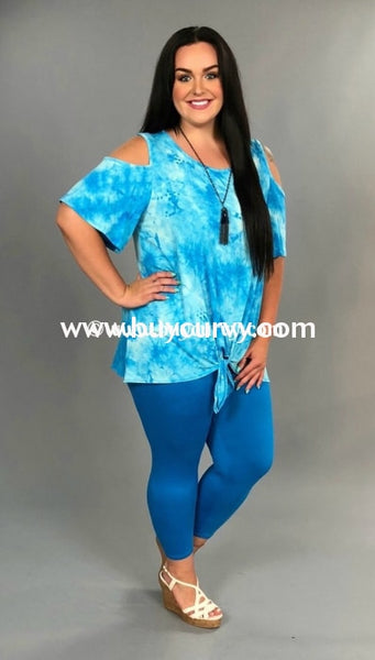 Ocs-O {Something To Brag About} Blue & Ivory Tie Dye Extended Plus Open Shoulder