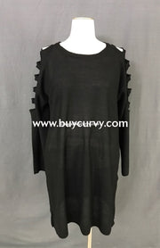 Ocs-Q Zenana Long Black Sweater With Sleeve Cut Detail Open Shoulder